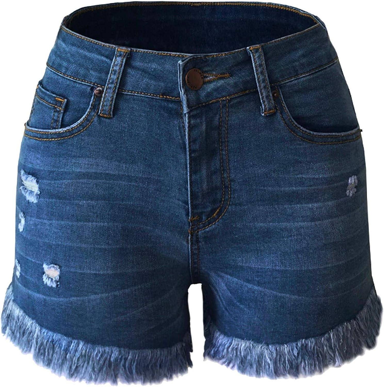 Bravetoshop Women's Casual Denim Shorts Distressed Ripped Jean Shorts Summer Mid Rise Stretchy Frayed Raw Hem Hot Short