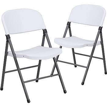 Flash Furniture 2 Pk. HERCULES Series 330 lb. Capacity Granite White Plastic Folding Chair with Charcoal Frame
