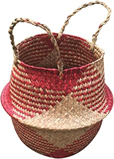 Storage Baskets - 6 Designs Handmade Fodable Storage Baskets Laundry Straw Patchwork Wicker Rattan Seagrass Belly - Elephant Cotton Black Java Storage Wall Natural Paper Narrow Turtle Pac