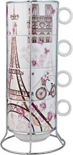 Grace Teaware Paris Stackable Coffee Tea Mug 10-Ounce With Metal Stand (Set of 4)