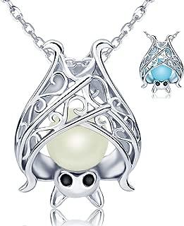 925 Sterling Silver Bat Necklace Earrings Cute Animal Glowing in the Dark Jewelry Halloween Gift for Women Girl