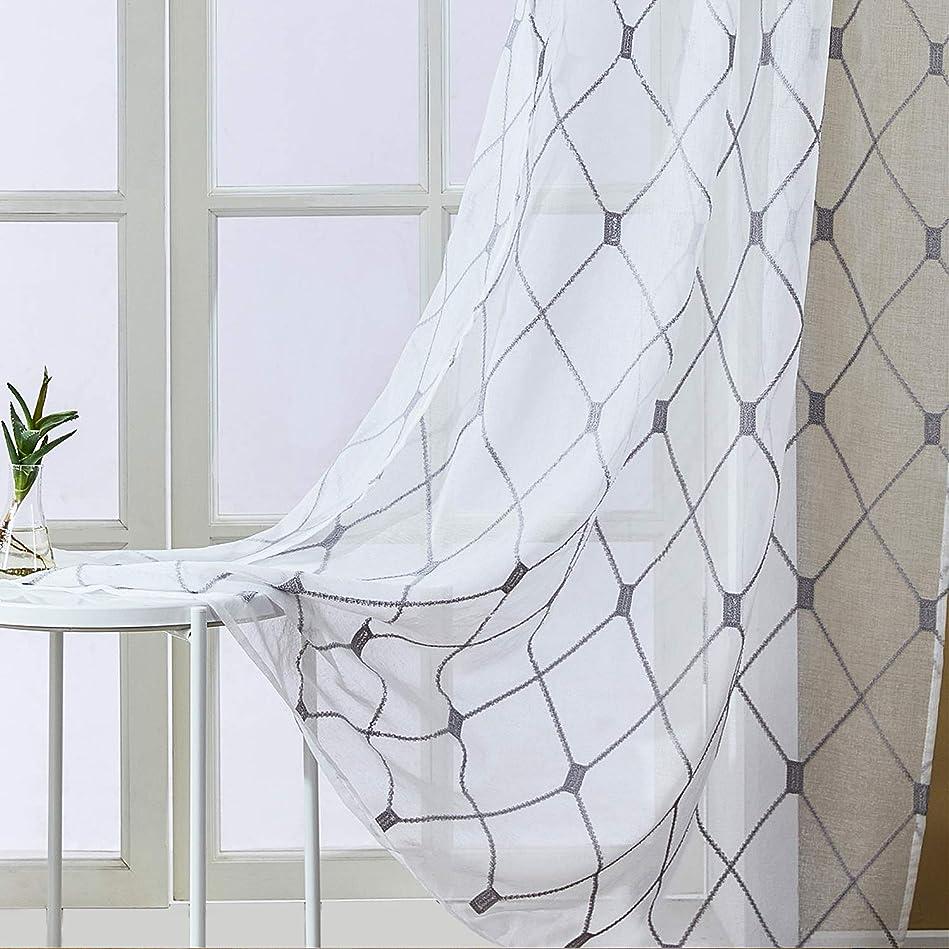 能力オーディション立法Topfinel レースカーテン UVカット 半遮像 遮熱 断熱 省エネ 北欧 おしゃれ 可愛い 洗える 品 幅100cm×丈135cm 2枚組 グレー