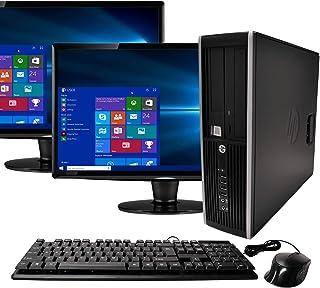 (Renewed) HP Elite Desktop Computer, Intel Core i5 3.1GHz, 8GB RAM, 1TB SATA HDD, Keyboard & Mouse, Wi-Fi, Dual 19in LCD Monitors (Brands Vary), DVD-ROM, Windows 10,
