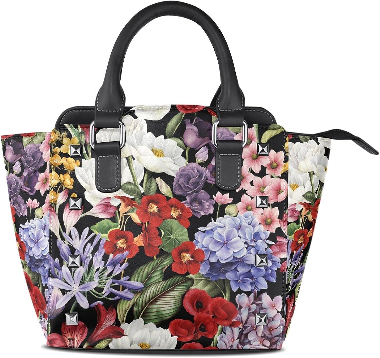 My Little Nest Women's Top Handle Satchel Handbag Watercolor Floral Pattern Ladies PU Leather Shoulder Bag Crossbody Bag