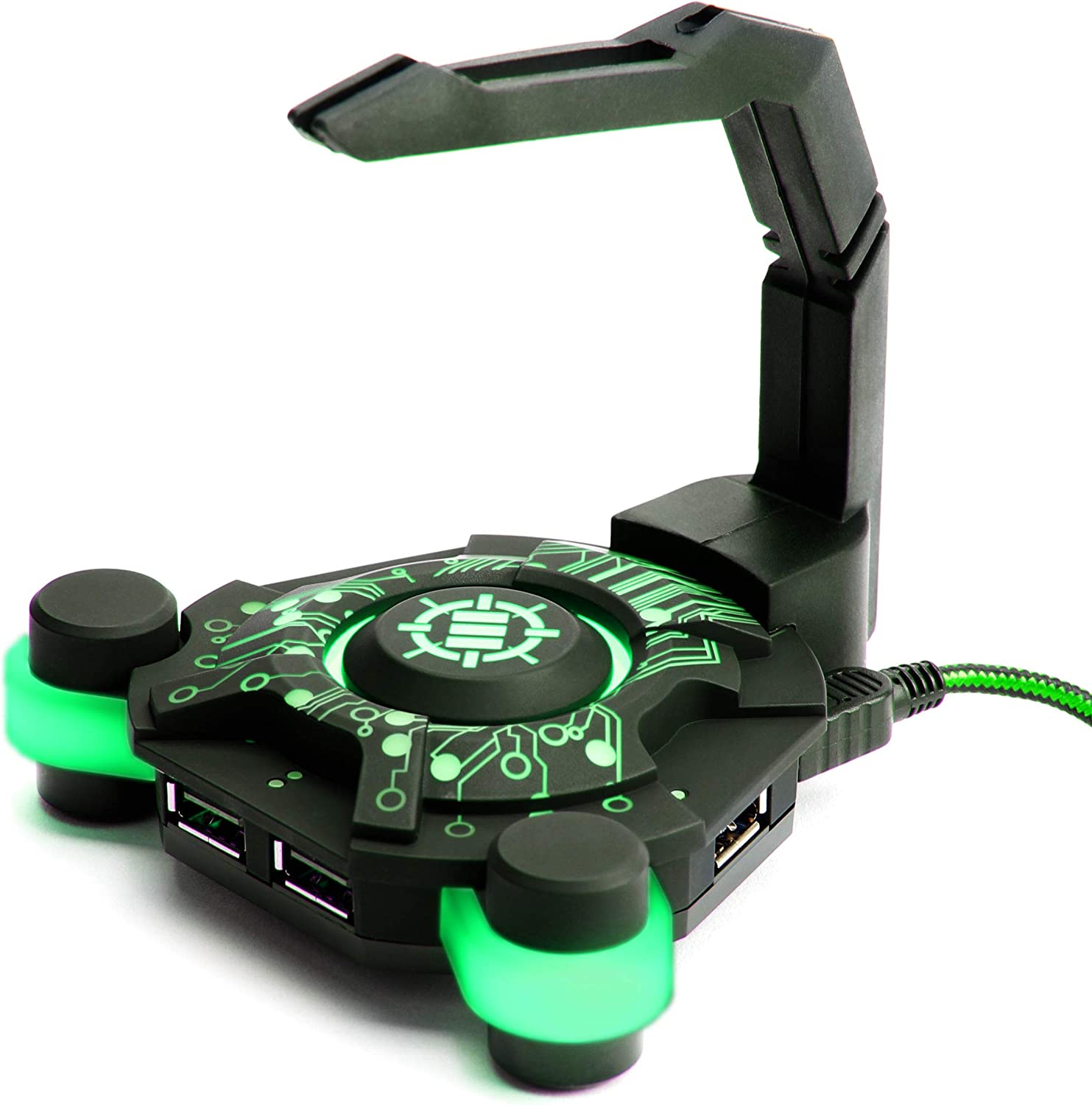 ENHANCE LED Gaming Mouse Bungee Cord Holder with 4-Port USB Hub - Green Lighting - Cable Management & Increased Accuracy for Pro eSports & Competitive Games