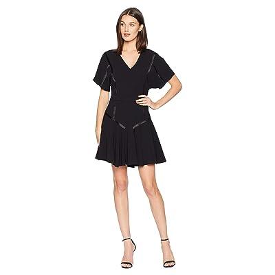 Halston Heritage Short Sleeve V-Neck Tape Detail Flounce Dress (Black) Women