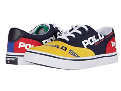 Polo Ralph Lauren Kids Thornton (Little Kid) (Navy/Yellow/Red/Green Canvas/Polo Sport Logos) Boy