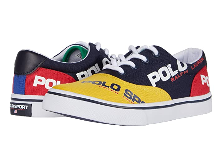 Polo Ralph Lauren Kids  Thornton (Little Kid) (Navy/YellowithRed/Green Canvas/Polo Sport Logos) Boys Shoes