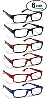 6 Pack Reading Glasses by BOOST EYEWEAR, Traditional Frames in Black, Tortoise Shell, Blue and Red, for Men and Women, with Comfort Spring Loaded Hinges, Assorted Colors, 6 Pairs (+2.00)