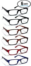 6 Pack Reading Glasses by BOOST EYEWEAR, Traditional Frames in Black, Tortoise Shell, Blue and Red, for Men and Women, with Comfort Spring Loaded Hinges, Assorted Colors, 6 Pairs (+2.50)