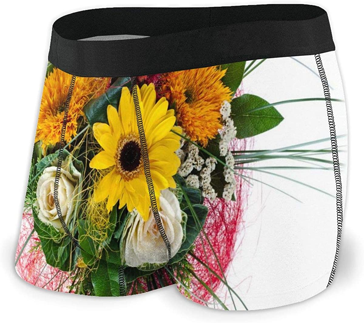 Randolph Wordsworth Mens Boxer Briefs Roses and Sunflowers Breathable Underwear