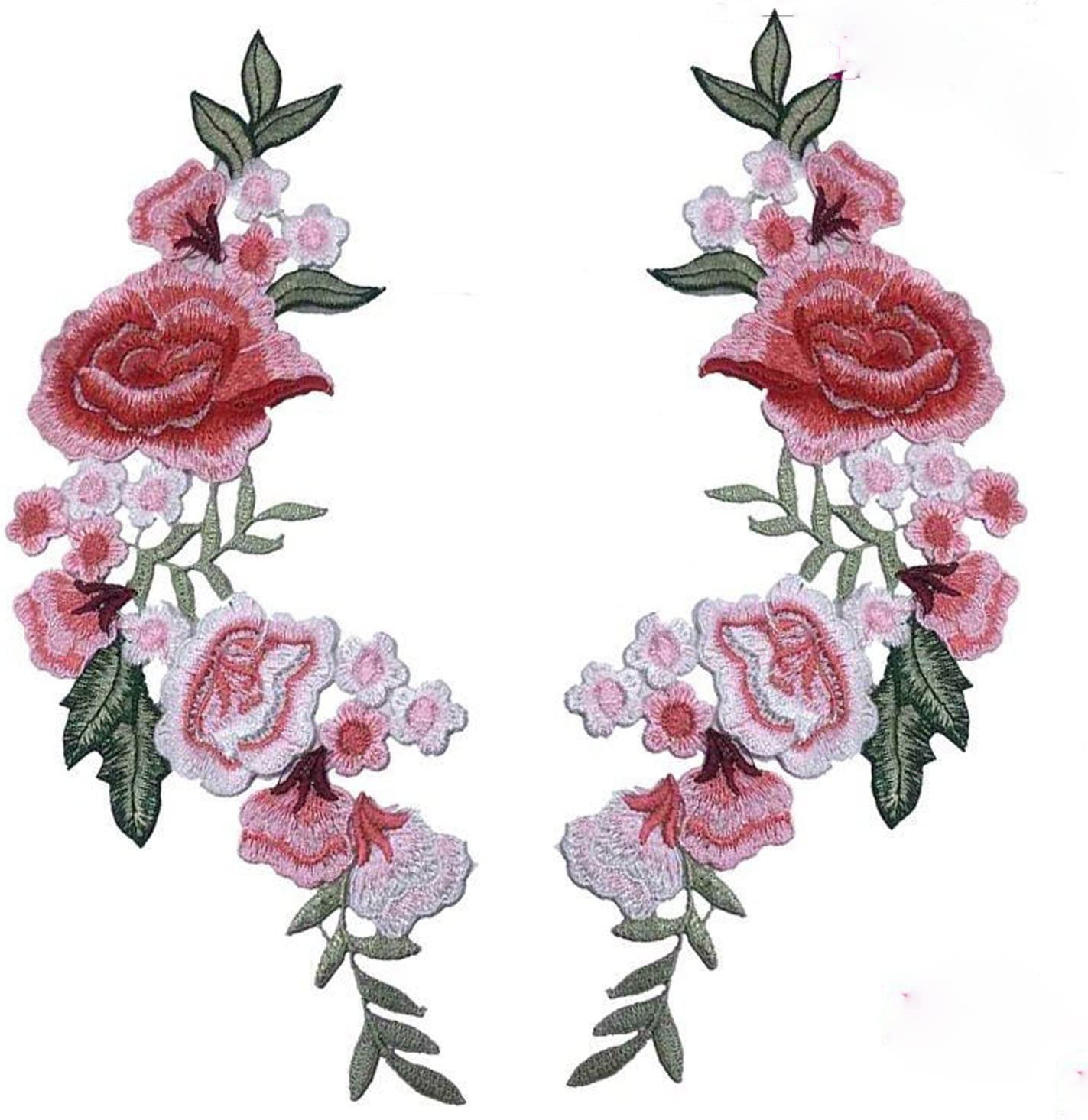 2 Pcs DIY Flowers Pair Max 58% OFF Embroidered Patch Collar All items free shipping Floral Applique