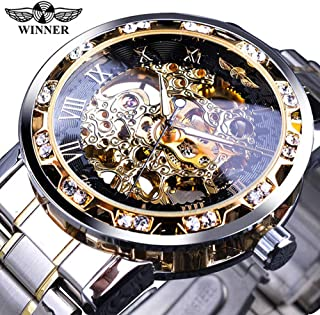 KKmoon WINNER Men Automatic Watch Fashion Diamond Display Luminous Hands Gear Movement Retro Mechanical Skeleton Watches L...