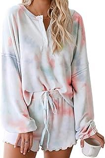 LOSRLY Womens 2Pcs Tie Dye Printed Ruffle Short Pajama Sets Sleeveless Tee and Pants Loungerwear Nightwear Sleepwear PJ Set