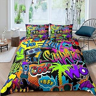 Lvvsovs® Parure de lit pour Rue Urbaine Multicolore Graffiti Hippie Graffiti King 220 x 240 cm Enfant avec Housse de Couet...