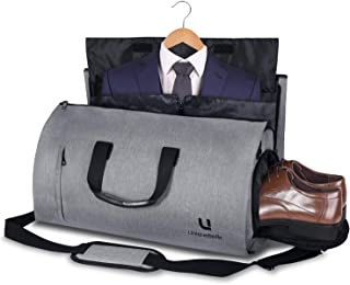 Carry on Garment Bag Large Duffel Bag Suit Travel Bag Weekend Bag Flight Bag with Shoe Pouch for Men Women (Grey1)