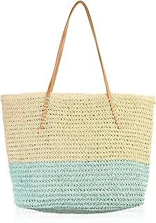 RIAH FASHION Boho Rattan Crochet Straw Woven Basket Bali Handbag - Round Circle Crossbody/Shopper Beach Tote Bag (Colorblock Beach Tote - Mint)