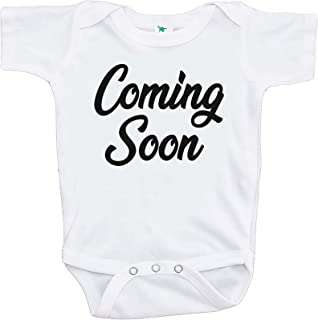 7 ate 9 Apparel Pregnancy Announcement Onepiece - Coming Soon White