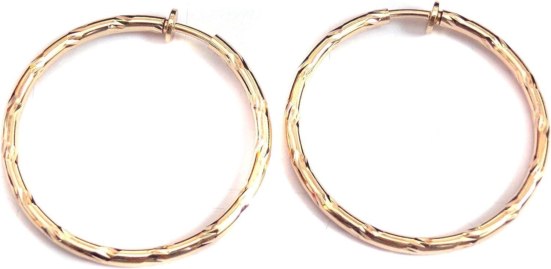 Clip-on Earrings Gold Tone Hoop Earrings Brass Ridged Hoop Hypoallergenic 2 inch