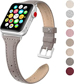 7ac87dc0b7179b SWEES Leather Band Compatible Apple Watch iWatch 38mm 40mm, Slim Thin Dressy  Elegant Genuine Leather