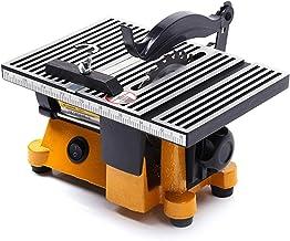 Sierra de mesa portátil de sobremesa, Sierras de mesa de precisión mini 60W, sierra de mesa eléctrica multifunción, máquina con tres tipos de cuchillas de sierra, ángulo ajustable, máquina de corte de