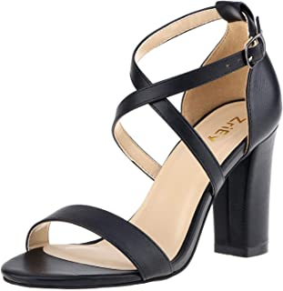 ZriEy Women's Chunky Block Strappy High Heel Sandals Cross Strappy Ankle Strap Classic Open Toe Shoes