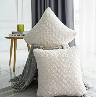 Valea Home Faux Fur Throw Pillow Covers for Couch Decorative Plush Swirl Luxury Super Soft Throw Pillow Case Set, 20 x 20 inch, Pack of 2, Ivory