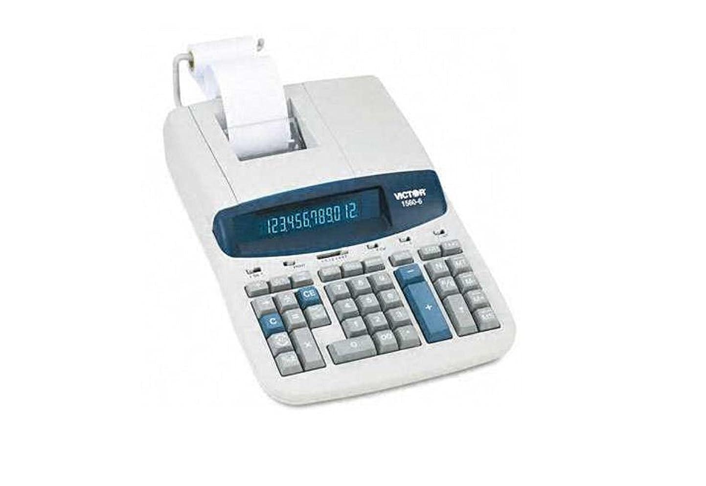 開示する民兵サイクロプス1560?–?6?2色リボン印刷電卓12桁、蛍光灯、ブラック/レッド