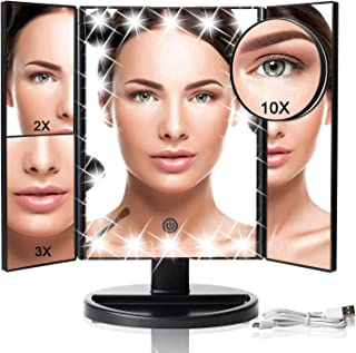 Makeup Vanity Mirror with Lights, Tri-fold Lighted Vanity Mirror with 22 LED Lights, Touch Screen, 10x/3x/2x/1x Magnification, 180° Adjustable Rotation and Dual Power Supply Tabletop Cosmetic Mirror