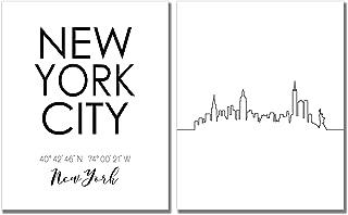 New York City Skyline Wall Décor Prints - Set of 2 (8x10) Art Photos - Typography Minimalist Poster