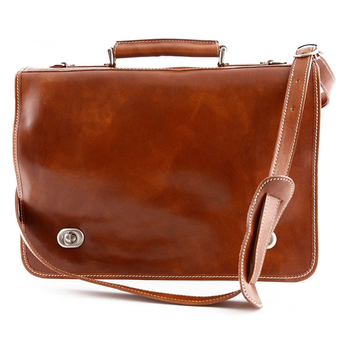 攻撃的用量ビスケットMade In Italy Leather Business Briefcase With 2 Compartments Color Honey - Business Bag
