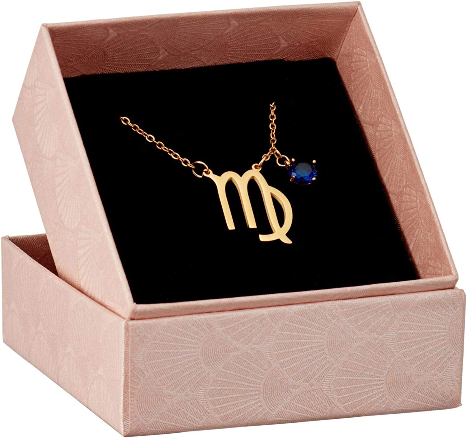 We Love Horoscope Specialty Zodiac Star Sign Necklace with Birth Stone Pendant; 16-inch, 18k Gold-Plated 316 Stainless Steel Chain with Colored Cubic Zirconia