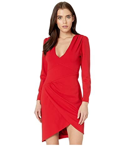 BCBGMAXAZRIA Long Sleeve V-Neck Dress (Burnt Red) Women