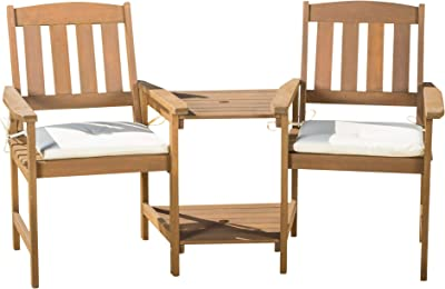 Christopher Knight Home Belize Outdoor Meranti Adjoined 2-Seater, Cream And Honey Oak