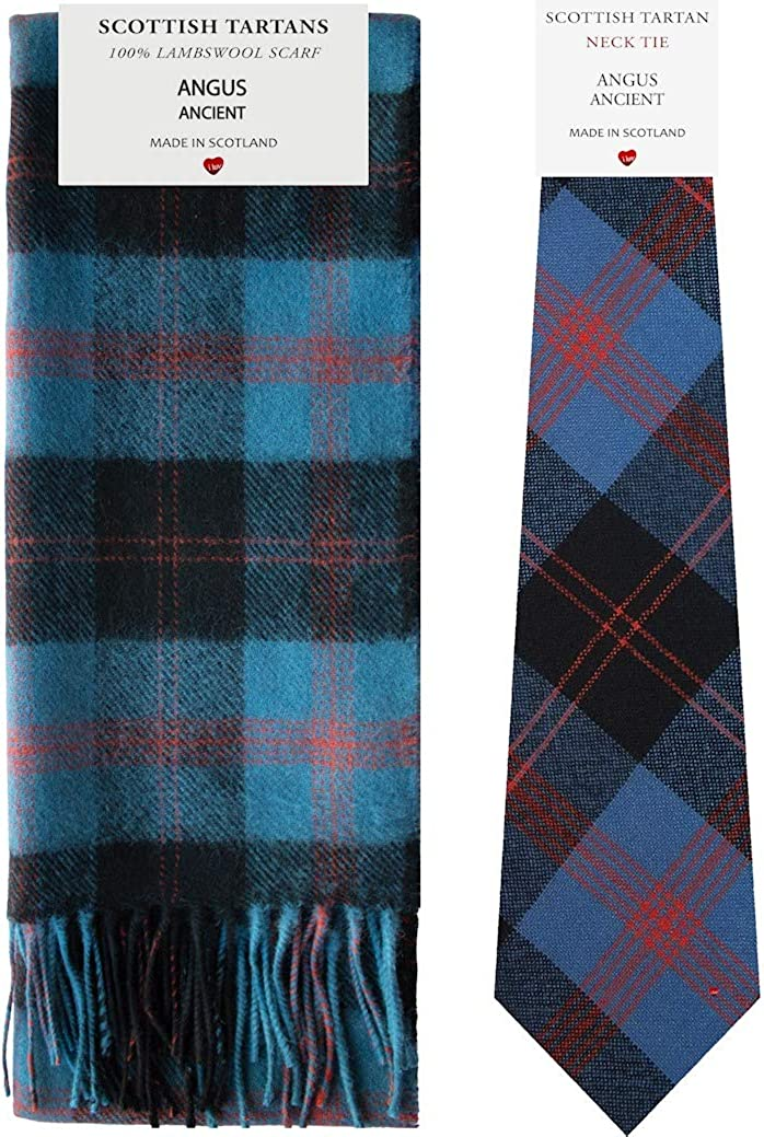 Angus Ancient Tartan Plaid Lambswool Scarf & Tie Gift Set