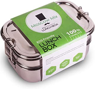 Stainless Steel Lunch Box Premium - 100% Food Grade Premium Stainless Steel Lunch Bento Tiffin Box for Kids & Adults - 3 Compartment Food Container Lunch Bento Box