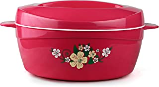 Cello Roti Plus Plastic Casserole with Lid, 2 Liters, Pink,Floral