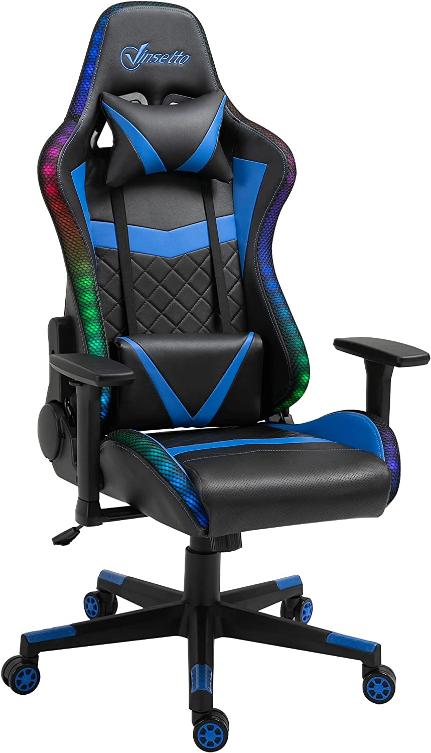 Vinsetto Gaming Chair with RGB LED Arm 3D Lumbar Support Outstanding Max 68% OFF Light