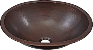 Schrodinger 17-inch Handmade Copper Bathroom Sink in Aged Copper BOU-1713BC
