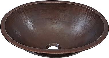 Schrodinger 17-inch Handmade Copper Bathroom Sink in Aged Copper BOU-1713BC
