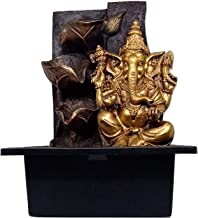 Karigari Home Decor Beautiful Vastu 4 Steps Indoor Polyresin Table Top Real Water Fountain Showpiece with LED Light and Motor Pump