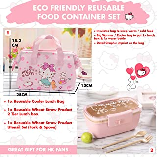 Sanrio Japan Hello Kitty Merchandise : Eco Friendly Reusable Food Container Set - Cooler/Warmer Lunch Bag, Cute Lunch Box with Wheat Straw Spoon and Fork Set (Light Pink)