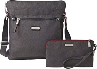 Baggallini New Classic Go Bagg with RFID Phone Wristlet, Charcoal Heritage