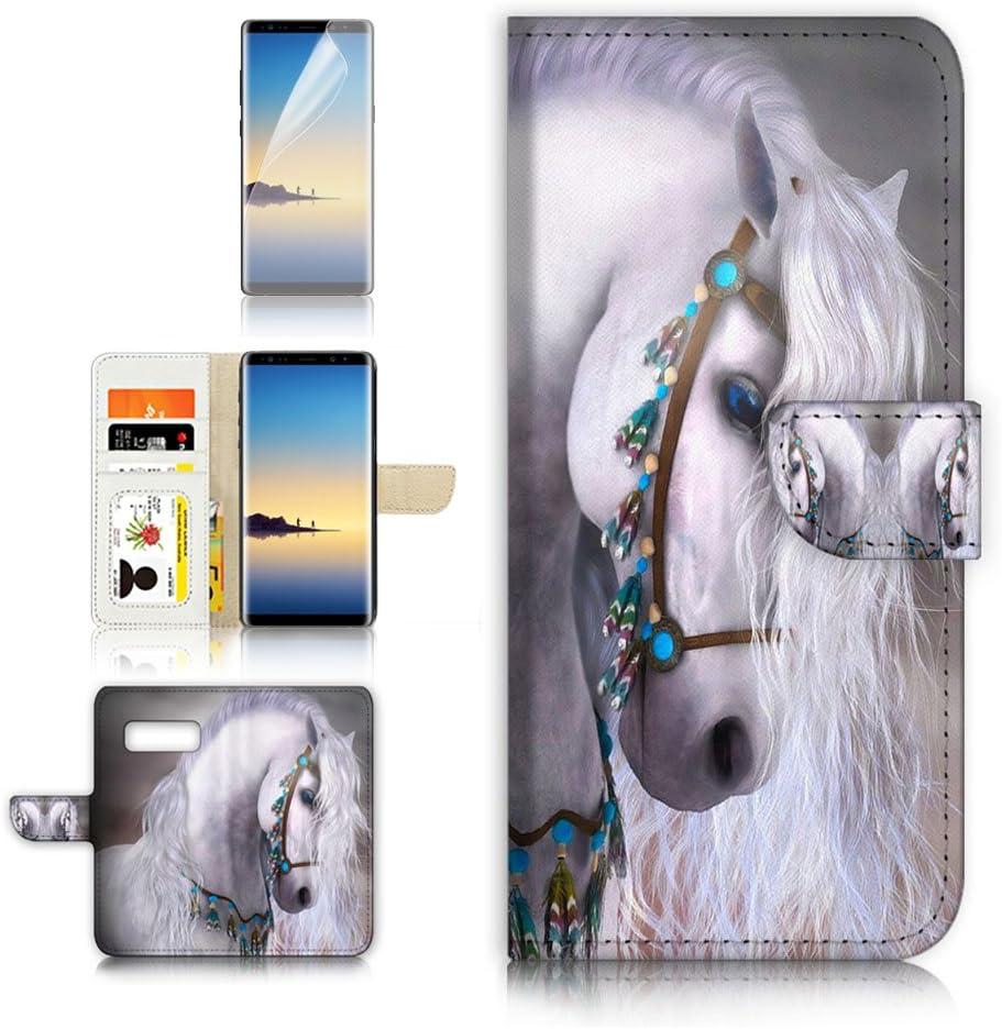 (for Samsung Galaxy S10e) Flip Wallet Case Cover & Screen Protector Bundle - A20470 White Horse Princess