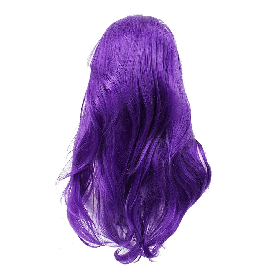 それによってボット折ACAMPTAR 女性のコスプレカーリーウィッグ ポニー付きロングカーリーヘア ふわふわカーリー(紫)