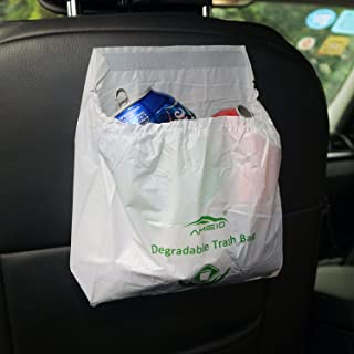 AMEIQ Car Biodegradable Trash Bag, Disposable Garbage Bag, Best Can Bin Container of Waste Rubbish Litter for Auto Vehicle Office Kitchen Bathroom Study Room, 20 Pack