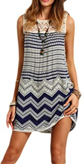 HaoDuoYi Women's Lace Contrast Hollow Out Geo-Tribal Printed Midi Shift Dresses