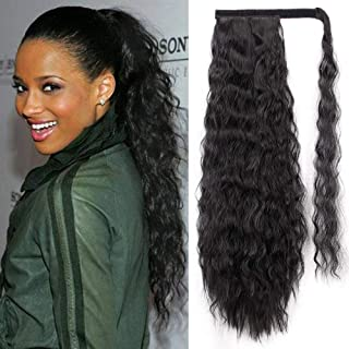 24inch Wavy Curly Wrap Around Ponytail Synthetic Magic Tape Yaki Ponytail Corn Wave Ponytail Synthetic Ponytail One Piece ...