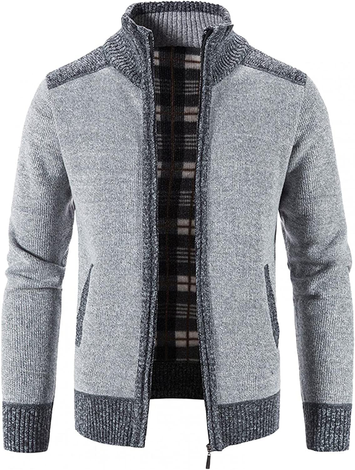 Men's Cardigan Sweaters Full Zip Up Stand Collar Slim Fit Casual Knitted Sweater Winter Warm Fleece Knit Jacket Coat