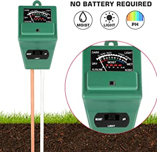Ruolan Soil Ph Meter for Soil Plant Moisture Meter 3-in-1 Soil Moisture/Light/pH Tester Gardening Tool Kits for Plant Care, Great for Garden, Lawn, Farm, Indoor & Outdoor Use